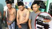 Các đối tượng trong băng nhóm cho vay nặng lãi do Nguyễn Văn Thiệu cầm đầu ở TP Đồng Xoài, tỉnh Bình Phước và hung khí của nhóm giang hồ ở Long An dùng đe dọa, khủng bố con nợ. Ảnh: CHÍ THẠCH