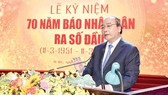 Thủ tướng Nguyễn Xuân Phúc phát biểu tại lễ kỷ niệm. Ảnh: TRẦN HẢI