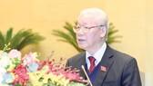 Tổng Bí thư, Chủ tịch nước Nguyễn Phú Trọng trình bày Báo cáo tổng kết công tác nhiệm kỳ 2016-2021 của Chủ tịch nước. Ảnh: QUANG PHÚC