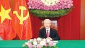 Tổng Bí thư Nguyễn Phú Trọng điện đàm trực tiếp với Tổng thống Sri Lanka Gotabaya Rajapaksa Ảnh: TTXVN