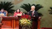 Tổng Bí thư, Chủ tịch nước Nguyễn Phú Trọng phát biểu chỉ đạo tại Đại hội đại biểu Đảng bộ thành phố Hà Nội lần thứ XVII. Ảnh: QUANG PHÚC