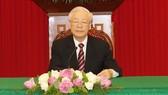 Tổng Bí thư Nguyễn Phú Trọng điện đàm  với Tổng thống Hàn Quốc Moon Jae-in. Ảnh: TTXVN