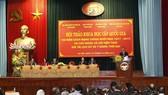 Đồng chí Võ Văn Thưởng, Ủy viên Bộ Chính trị,  Bí thư Trung ương Đảng, Trưởng Ban Tuyên giáo Trung ương đến dự và phát biểu tại hội thảo