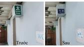Hình hướng dẫn nhà vệ sinh Nam trước và sau khi đăng báo
