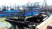 Hàng loạt tàu cá bốc cháy tại Cảng cá Quy Nhơn