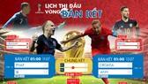Lịch trực tiếp World Cup 2018 vòng bán kết và chung kết
