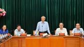 Đồng chí Trần Quốc Vượng, Ủy viên Bộ Chính trị, Thường trực Ban Bí thư làm việc với Thành ủy TPHCM về công tác tổ chức Đại hội Đảng. Ảnh: VIỆT DŨNG