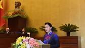Chủ tịch Quốc hội Nguyễn Thị Kim Ngân phát biểu khai mạc. Ảnh: VGP