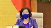 Chủ tịch Quốc hội Nguyễn Thị Kim Ngân phát biểu tại phiên họp sáng 22-4-2020. Ảnh: QUOCHOI