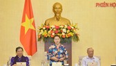 Chủ tịch Quốc hội Nguyễn Thị Kim Ngân phát biểu bế mạc phiên họp thứ 46 của UBTVQH. Ảnh: QUOCHOI