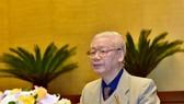 Tổng Bí thư, Chủ tịch nước Nguyễn Phú Trọng phát biểu khai mạc Hội nghị tại đầu cầu Hà Nội. Ảnh: VIẾT CHUNG