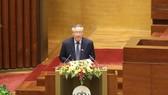 Chánh án Tòa án nhân dân tối cao Nguyễn Hoà Bình trình bày Báo cáo công tác của các tòa án trong nhiệm kỳ Quốc hội khóa XIV. Ảnh: QUANG PHÚC