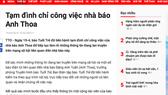 Thông tin trên Báo Tuổi Trẻ tối 19-4 về việc đình chỉ công việc đối với nhà báo Anh Thoa
