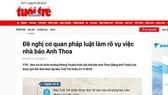 Vụ nhà báo Anh Thoa nghi xâm hại tình dục: Công an vào cuộc điều tra