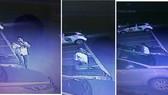 Hình ảnh camera ghi nhận các đối tượng tiếp cận xe ô tô để đập kính trộm tài sản. Ảnh: CHÍ THẠCH