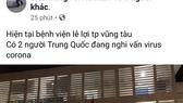 Thông tin không chính xác được Trần Tùng đưa trên mạng xã hội Facebook