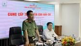 Đại tá Nguyễn Sỹ Quang, Phó Giám đốc Công an TPHCM thông tin vụ việc. Ảnh:C.T