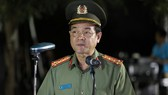 Đồng chí Lê Hồng Nam, Giám đốc Công an TPHCM phát biểu lễ ra quân của Công an TPHCM vào giữa tháng 7-2020. Ảnh theo Thanh niên