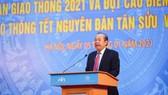 Phó Thủ tướng Thường trực Chính phủ, Chủ tịch Ủy ban An toàn giao thông Quốc gia Trương Hòa Bình phát biểu tại buổi lễ