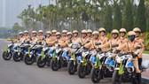 Lãnh đạo Cục Cảnh sát giao thông kiểm tra công tác tổ chức phân luồng cho Đại hội Đảng