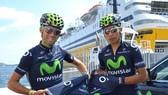 Nairo Quintana (phải) và Alejandro Valverde luôn sát cánh cùng nhau
