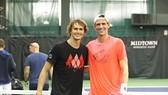 Anderson (phải) và Zverev, một thành viên của Tuyển châu Âu