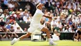 Federer trong một pha lên lưới
