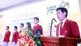 Trưởng đoàn Trần Đức Phấn phát biểu tại buổi lễ xuất quân