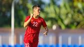 Cầu thủ Nguyễn Tiến Linh  lập hattrick trong trận thắng U 22 Lào. Ảnh: Dũng Phương
