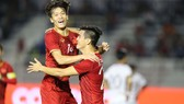 U22 Việt Nam ăn mừng chiến thắng trước 22 Campuchhia 4-0. Ảnh: Dũng Phương
