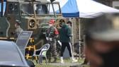 Son Heung-min tại trại huấn luyện của quân đội Hàn Quốc. Ảnh: Yonhap