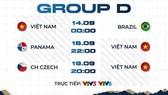 Lịch thi đấu của đội tuyển Việt Nam ở bảng D.