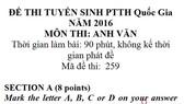 Bài giải và nhận xét môn thi Ngoại ngữ THPT Quốc gia 2016