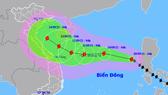 Vị trí và hướng di chuyển của bão Côn Sơn. Ảnh: Trung tâm Dự báo Khí tượng thủy văn Quốc gia