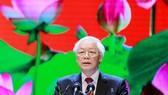 Tổng Bí thư, Chủ tịch nước Nguyễn Phú Trọng đọc diễn văn tại buổi lễ.  Ảnh: VIẾT CHUNG