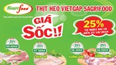 Thịt heo Sagrifood giảm giá lên đến 25%