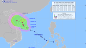 Áp thấp nhiệt đới trên Biển Đông. Ảnh: TTDBKTTVQG