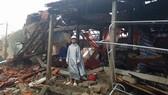 Nhà một người dân ở thị xã Ba Đồn, Quảng Bình bị sập hoàn toàn trong cơn bão số 10. Ảnh: MINH PHONG