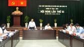 Phó Bí thư Thường trực Thành ủy TPHCM Trần Lưu Quang phát biểu chỉ đạo hội nghị. Ảnh: CAO THĂNG