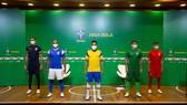 Các tuyển thủ futsal Brazil trong buổi lễ ra mắt nhà tài trợ vào hôm 4-8. Ảnh: CBS