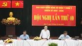 Đồng chí Nguyễn Văn Hiếu dự và phát biểu tại Hội nghị Ban chấp hành đảng bộ quận 7. Ảnh: MAI HOA