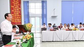 Bí thư Thành ủy TPHCM Nguyễn Văn Nên phát biểu trong buổi làm việc với quận Thủ Đức. Ảnh: VIỆT DŨNG