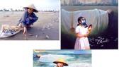 """Từ trái sang: Bức ảnh """"Biển chết"""" đăng trên báo Thanh Niên, bức tranh của họa sĩ Lê Thế Anh bà bức tranh """"Biển chết"""" của họa sĩ Nguyễn Nhân. Ảnh: HÀM LUÔNG chụp lại"""