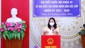 Phó Chủ tịch nước Võ Thị Ánh Xuân bỏ phiếu bầu cử ở An Giang