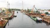 Công trình cống kiểm soát triều Phú Định, quận 8 đang được thi công