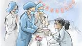 """Một bức tranh trong bộ tranh """"Ở nhà an toàn, cảm ơn bác sĩ"""""""