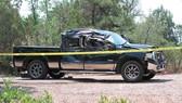 Chiếc xe bán tải sau khi gây tai nạn