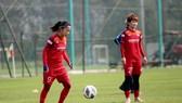 Huỳnh Như đã có mặt cùng đồng đội vào sáng 24-2. Ảnh: Đoàn Nhật