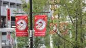 Banners cheering for the Vietnamese teams at Kokubunji city (Photo: VNA)