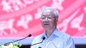 Party General Secretary Nguyen Phu Trong speaks at the event. (Photo: SGGP)
